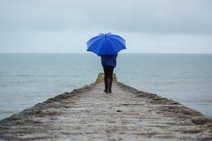 Zware regensklap Devon die, het UK vakantie ruïneren Stock Foto