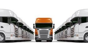 Zware rode vrachtwagens die op wit worden geïsoleerdg Stock Foto