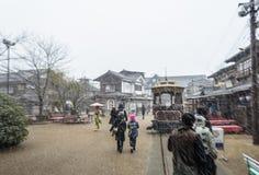 Zware Sneeuw bij TÅ  e-i Uzumasa Eigamura Stock Foto