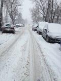 Zware sneeuw in Boekarest Stock Afbeeldingen