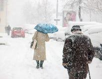 Zware sneeuw in Kiev, de Oekraïne, 5 Februari, 2015 Royalty-vrije Stock Afbeelding