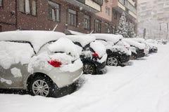 Zware sneeuw in Kiev, de Oekraïne, 5 Februari, 2015 Royalty-vrije Stock Afbeeldingen