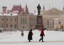Zware sneeuw in Middeneuropees Rusland Stock Foto
