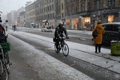Zware sneeuwdalingen van Deens hoofdkopenhagen Denemarken royalty-vrije stock fotografie