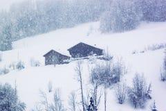 Zware sneeuwval in bergen van Zwitserland Typische houten rustieke Zwitserse die huizen op de berghelling en de bomen met sneeuw  stock foto's