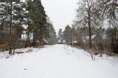 Zware sneeuwval in het dorp van Vyritsa Stock Foto's