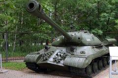 Zware tank -3 model 1945 de USSR op gronden van bewapeningstentoongesteld voorwerp Royalty-vrije Stock Fotografie