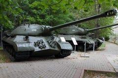 Zware tank -3 model 1945 de USSR op gronden van bewapeningstentoongesteld voorwerp Royalty-vrije Stock Afbeelding