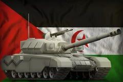Zware tank op de Westelijke nationale de vlagachtergrond van de Sahara 3D Illustratie vector illustratie