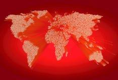 Zware uitgedreven rode wereldkaart die uit punten bestaan Stock Foto's