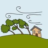 Zware winden die Bomen op een winderige dag buigen Stock Foto