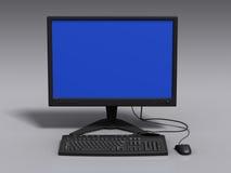 Zwart 3d model van toetsenbord, monitor en muis Stock Afbeelding