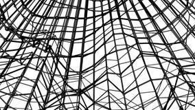 Zwart abstractie driedimensioneel die netwerk langzaam op een witte achtergrond wordt misvormd geanimeerd 3d geef terug royalty-vrije illustratie