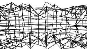 Zwart abstractie driedimensioneel die netwerk langzaam op een witte achtergrond wordt misvormd geanimeerd 3d geef terug vector illustratie