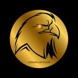 Zwart adelaars hoofdsilhouet stock illustratie