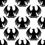Zwart adelaars naadloos patroon Stock Afbeeldingen