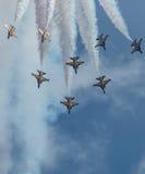 Zwart aerobatic de vertoningsteam van Eagles, Singapore Airshow 2016 Stock Foto