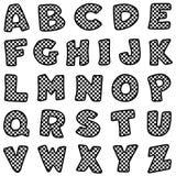Zwart & Wit Geruit Alfabet Stock Foto's