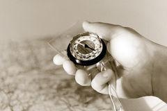 Zwart & wit Kompas ter beschikking Royalty-vrije Stock Fotografie