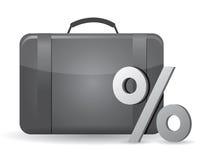 Zwart bedrijfsgeval en percentagesymbool Royalty-vrije Stock Afbeeldingen
