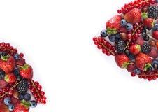 Zwart-blauw en rood voedsel Rijpe bosbessen, rode aalbessen, frambozen, aardbeien, kruisbessen op een witte achtergrond Royalty-vrije Stock Afbeelding