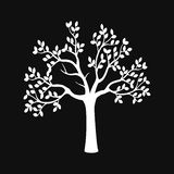 Zwart boomsilhouet dat op witte achtergrond wordt geïsoleerdo royalty-vrije illustratie