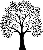Zwart boomsilhouet dat op witte achtergrond wordt geïsoleerdo vector illustratie