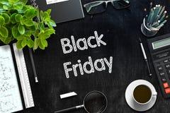 Zwart Bord met Black Friday-Concept het 3d teruggeven Stock Afbeeldingen