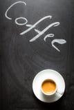 Zwart bord met de de woordenkoffie en espresso royalty-vrije stock foto's