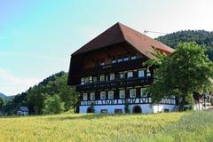 Zwart Bos traditioneel huis stock afbeeldingen