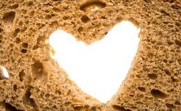 zwart brood met een hart Stock Afbeelding