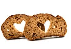 zwart brood met een hart Royalty-vrije Stock Afbeelding