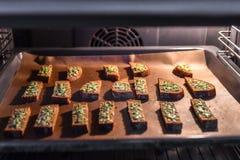Zwart brood met kaas in de oven Geroosterd brood met kaas en kruiden, die in de oven op een zwart dienblad, heerlijk ontbijt word stock afbeelding