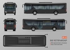 Zwart Bus Vectormalplaatje Stock Afbeelding