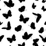Zwart butterfliesseamless patroon Royalty-vrije Stock Foto