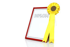 Zwart certificaat met gele rozet Stock Fotografie