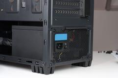 Zwart computergeval, de toren van Midi voor ATX-motherboard, met tussenvoegsel Royalty-vrije Stock Afbeelding