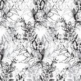 Zwart contour bloemenpatroon voor achtergrond royalty-vrije illustratie