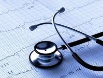 Zwarte stethoscoop en ECG Royalty-vrije Stock Foto's