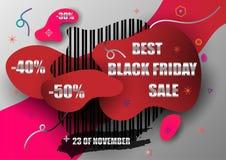 Zwart de bannerontwerp van de vrijdagverkoop Abstract modern vormprijskaartje met korting Het rode en zwarte ontwerp van de kleur royalty-vrije illustratie