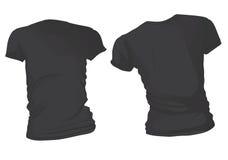 Zwart de T-shirtmalplaatje van vrouwen Stock Foto's