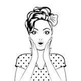 Zwart de vrouwengezicht van de lijnkunst royalty-vrije illustratie