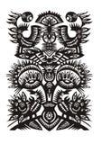 Zwart decoratief patroon met vogels en bloemen Royalty-vrije Stock Afbeelding