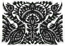 Zwart decoratief patroon met vogels en bloemen Stock Foto