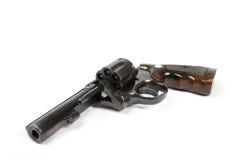 Zwart die revolverkanon op witte achtergrond wordt geïsoleerd Stock Foto