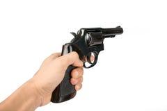 Zwart die revolverkanon op witte achtergrond wordt geïsoleerd Stock Fotografie
