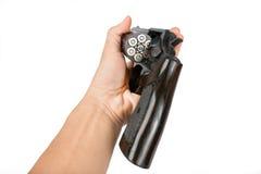 Zwart die revolverkanon op witte achtergrond wordt geïsoleerd Stock Foto's
