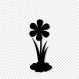 Zwart die silhouet van bloesem het groeien in grond op transparant wordt geïsoleerd vector illustratie