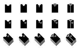 Zwart die T-shirt en overhemdsvouwenpictogram voor kast wordt geplaatst vector illustratie