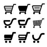 Zwart eenvoudig boodschappenwagentje, karretje, punt, knoop Stock Afbeelding